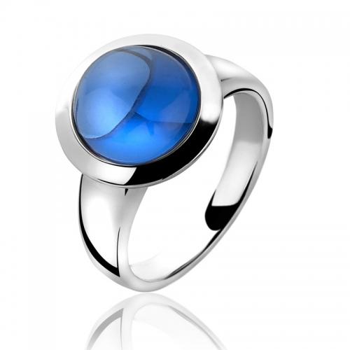 Zinzi Large Cabochon Cut Blue Topaz Ring
