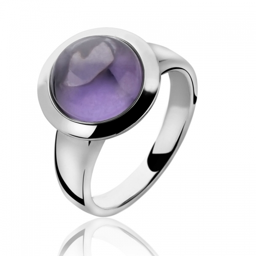 Zinzi Large Cabochon Cut Purple Zirconia Ring