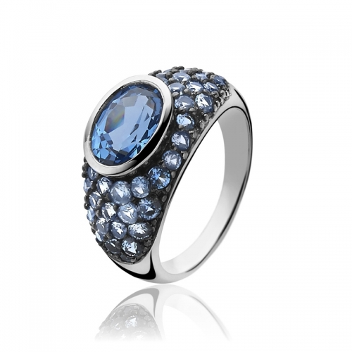 Zinzi Blue Zirconia Statement Ring