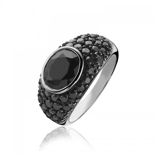 Zinzi Black Zirconia Statement Ring