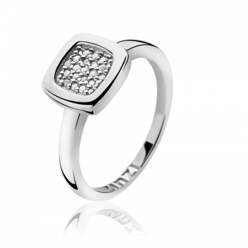 Zinzi Square White CZ Silver Ring