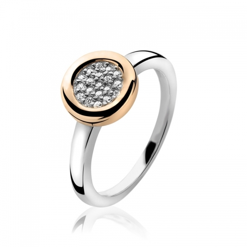 Zinzi Rose Gold Circle Mount Ring with White CZ