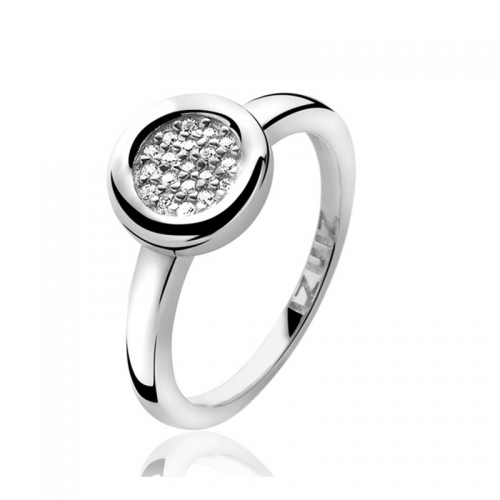 Zinzi Silver Circle Mount Ring with White CZ
