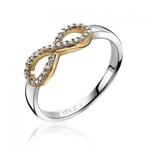Zinzi Yellow Gold CZ Infinity Ring