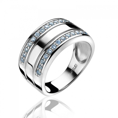 Zinzi Silver and Blue Zirconia 10mm Band Ring