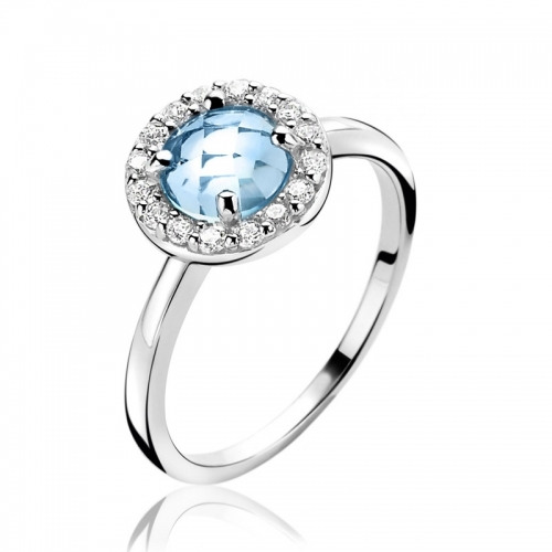 Zinzi Entourage Ring with Blue CZ