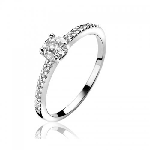 Zinzi Silver Ring with White Zirconia