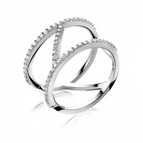 Zinzi Modern Silver Band Ring with White Zirconia