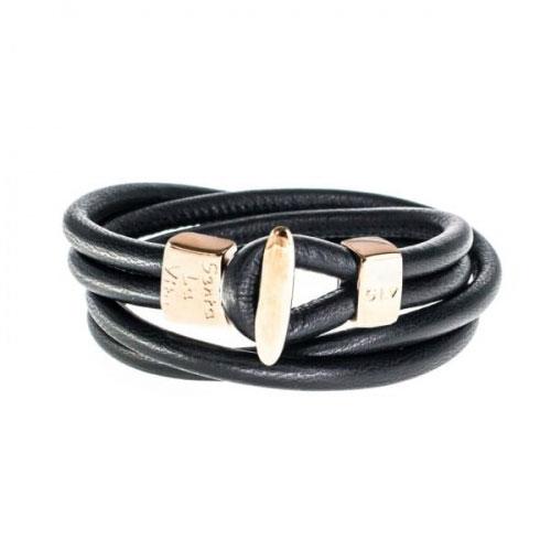 Senta La Vita Senta La Vita Black Double Wrap Charm Bracelet