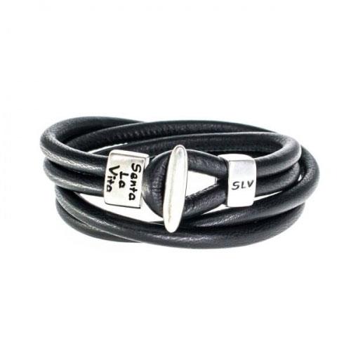 Senta La Vita Black Double Wrap Charm Bracelet