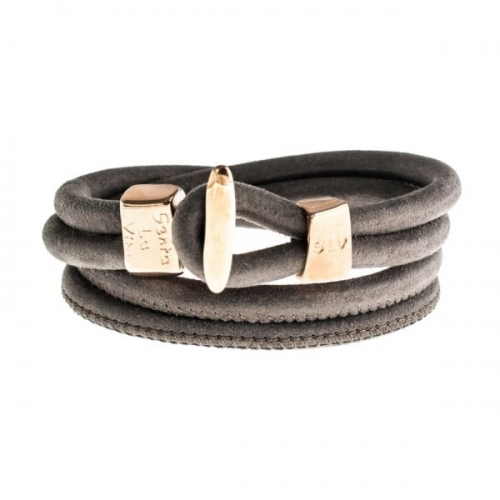 Senta La Vita Taupe Double Wrap Charm Bracelet