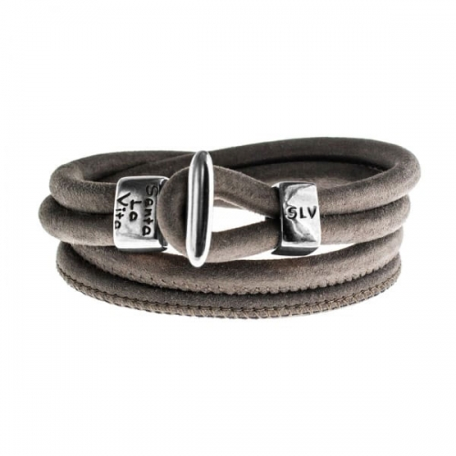 Senta La Vita Senta La Vita Taupe Double Wrap Charm Bracelet