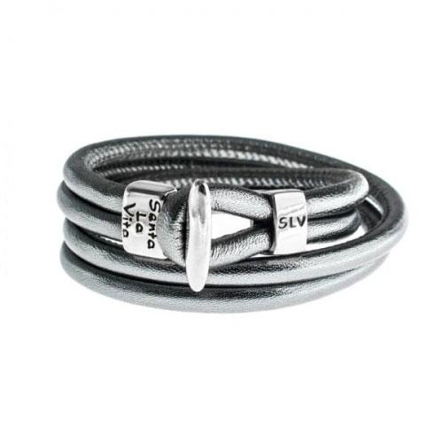 Senta La Vita Anthracite Metallic Double Wrap Charm Bracelet