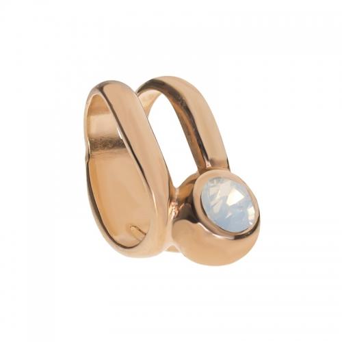 Senta La Vita White Opal Swarovski Double Ring Charm