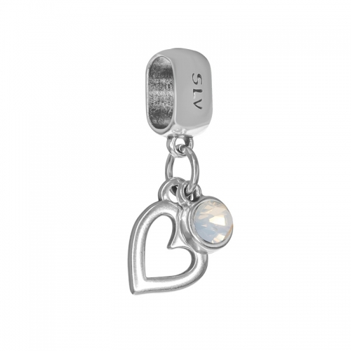 Senta La Vita White Opal Swarovski Open Heart Dangle Charm