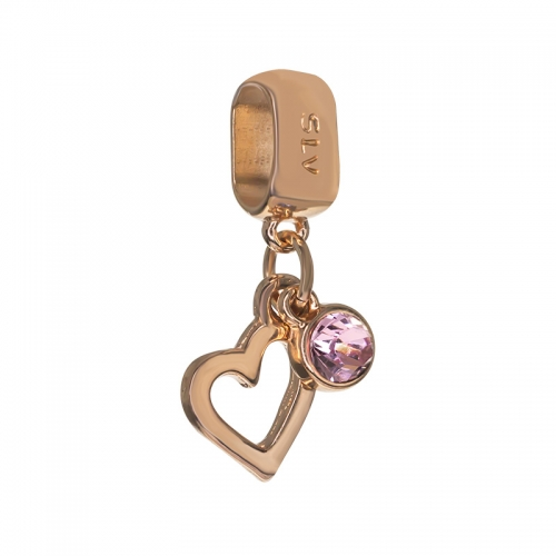 Senta La Vita  Light Rose Swarovski Open Heart Dangle Charm