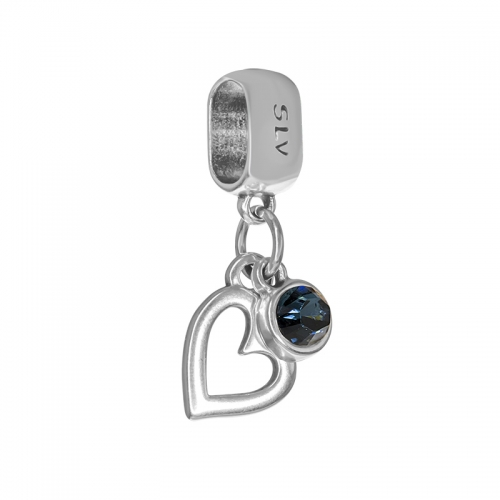 Senta La Vita  Blue Denim Swarovski Open Heart Dangle Charm