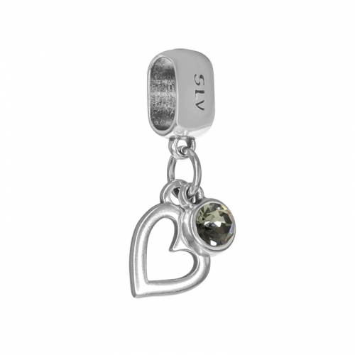 Senta La Vita  Black Diamond Swarovski Open Heart Dangle Charm