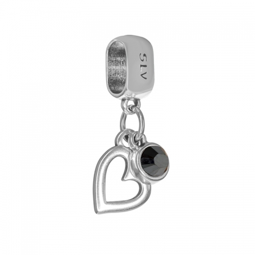 Senta La Vita  Jet Hematite Swarovski Open Heart Dangle Charm