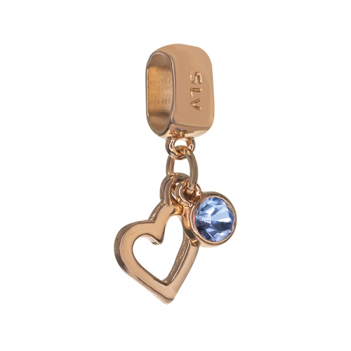 Senta La Vita  Light Sapphire Swarovski Open Heart Dangle Charm
