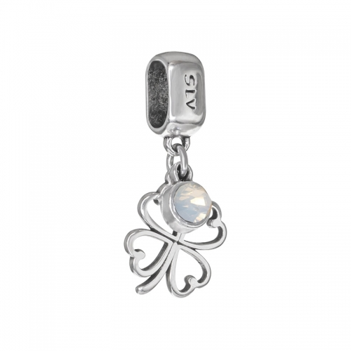 Senta La Vita White Opal Swarovski Open Clover Dangle Charm