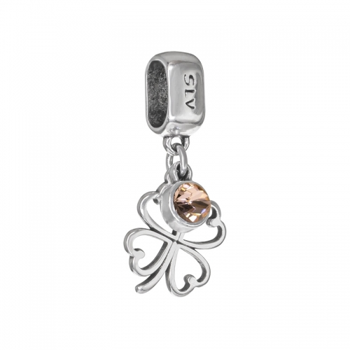 Senta La Vita Peach Swarovski Open Clover Dangle Charm