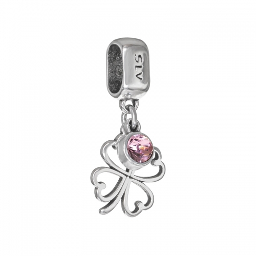 Senta La Vita Light Rose Swarovski Open Clover Dangle Charm