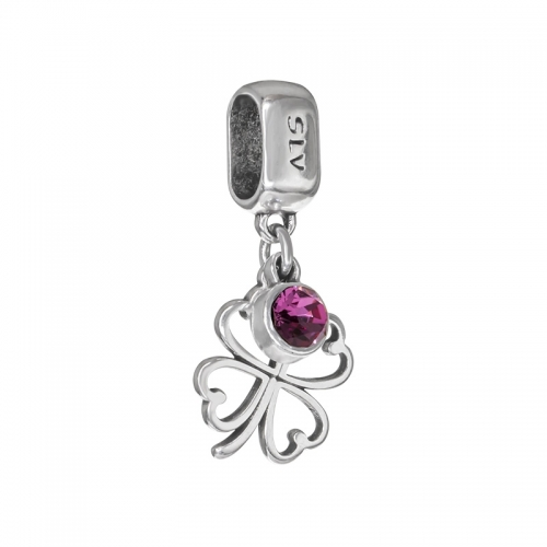 Senta La Vita Rose Swarovski Open Clover Dangle Charm
