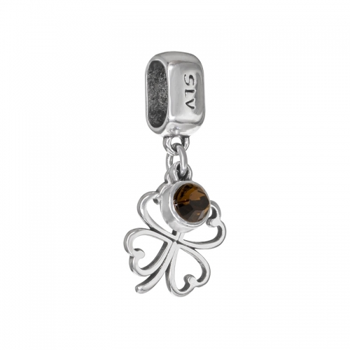 Senta La Vita Smoked Topaz Swarovski Open Clover Dangle Charm