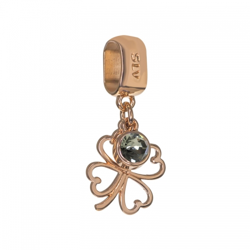 Senta La Vita Senta La Vita Black Diamond Swarovski Open Clover Dangle Charm