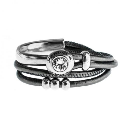 Senta La Vita Anthracite Metallic Double Wrap Half Bracelet with Swarovski Stone