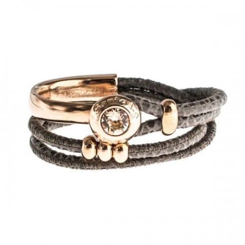 Senta La Vita Viperina Double Wrap Half Bracelet with Swarovski Stone