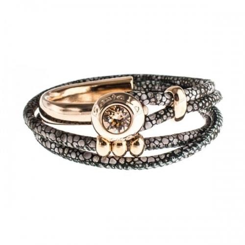 Senta La Vita Stingray Double Wrap Half Bracelet with Swarovski Stone