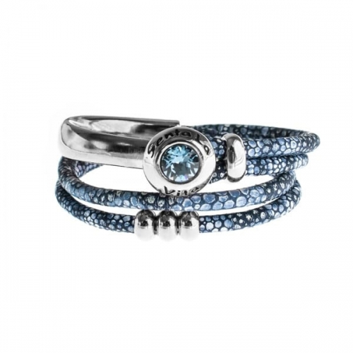 Senta La Vita Stingray Blue Double Wrap Half Bracelet with Swarovski Stone