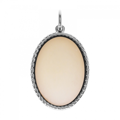 Senta La Vita  Oval Light Peach Matt Stone Pendant