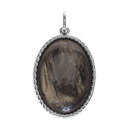 Senta La Vita  Oval Dark Taupe Shiny Stone Pendant