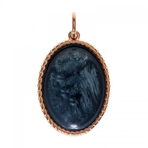 Senta La Vita  Oval Denim Blue Shiny Stone Pendant