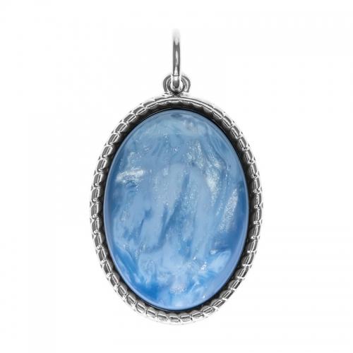 Senta La Vita  Oval Sky Blue Shiny Stone Pendant