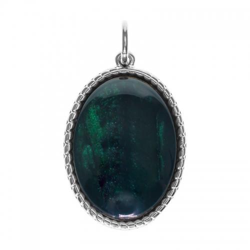 Senta La Vita  Oval Emerald Shiny Stone Pendant