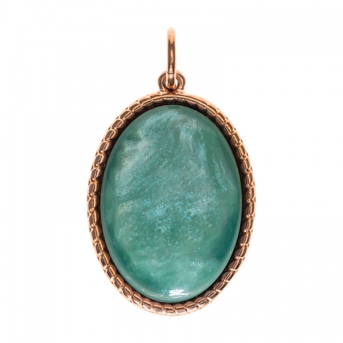 Senta La Vita  Oval Jade Shiny Stone Pendant