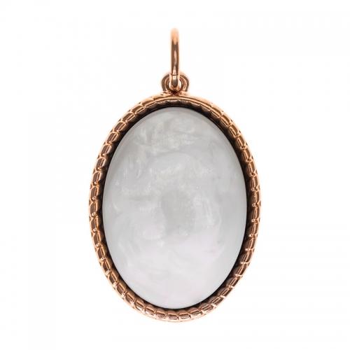Senta La Vita  Oval White Shiny Stone Pendant