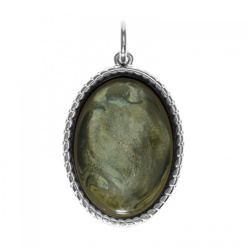 Senta La Vita  Oval Agave Green Stone Pendant