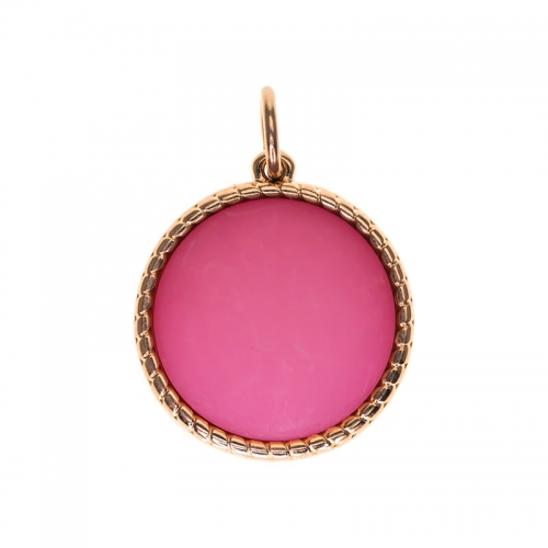 Senta La Vita  Pink Round Matt Stone Pendant