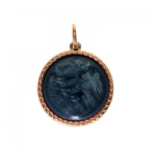Senta La Vita  Round Denim Blue Shiny Stone Pendant
