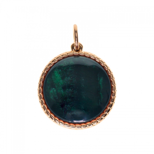 Senta La Vita  Round Emerald Shiny Stone Pendant