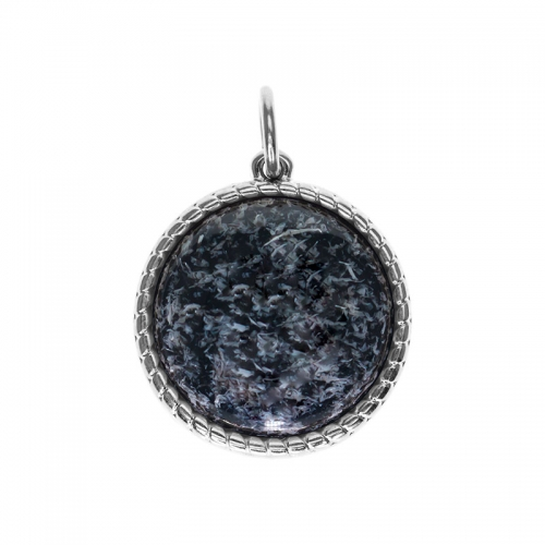 Senta La Vita  Round Black Felt Shiny Stone Pendant