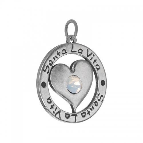 Senta La Vita  White Opal Swarovski Heart Pendant