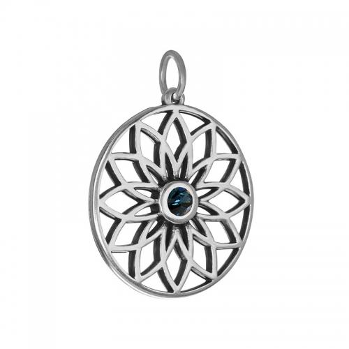 Senta La Vita  Blue Denim Swarovski Lotus Pendant