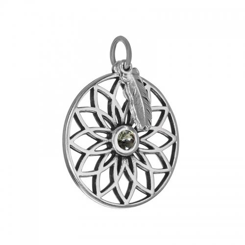 Senta La Vita  Black Diamond Swarovski Lotus & Feather Pendant