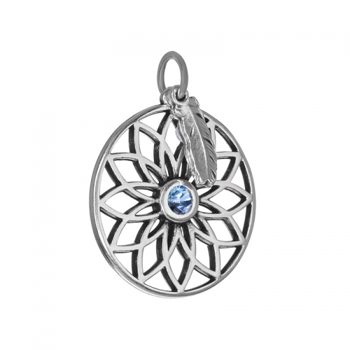 Senta La Vita  Light Sapphire Swarovski Lotus & Feather Pendant
